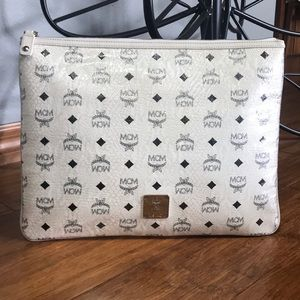 Auth MCM Phenomenon Coated Canvas Zip Clutch Pouch